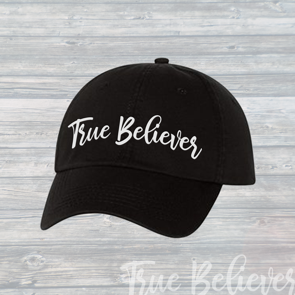 The True Believer Dad Hat ~ Bold Black & White