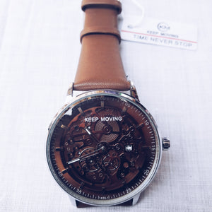 Keep Moving KM310 Unisex Leather Watch - Bejewel