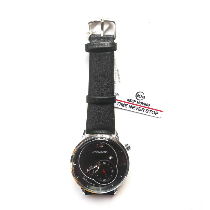 Keep Moving KM644 unisex leather watch - Bejewel