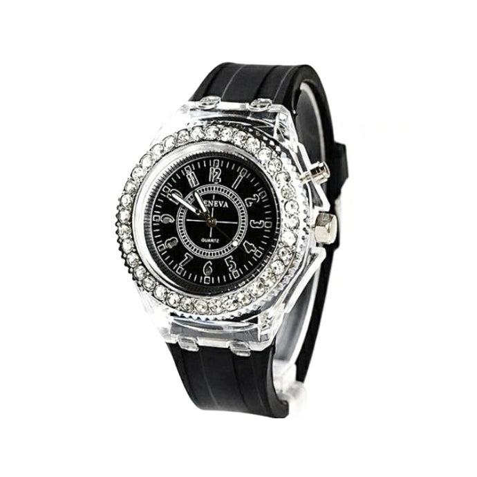Geneva women's rubber strap watch - Bejewel