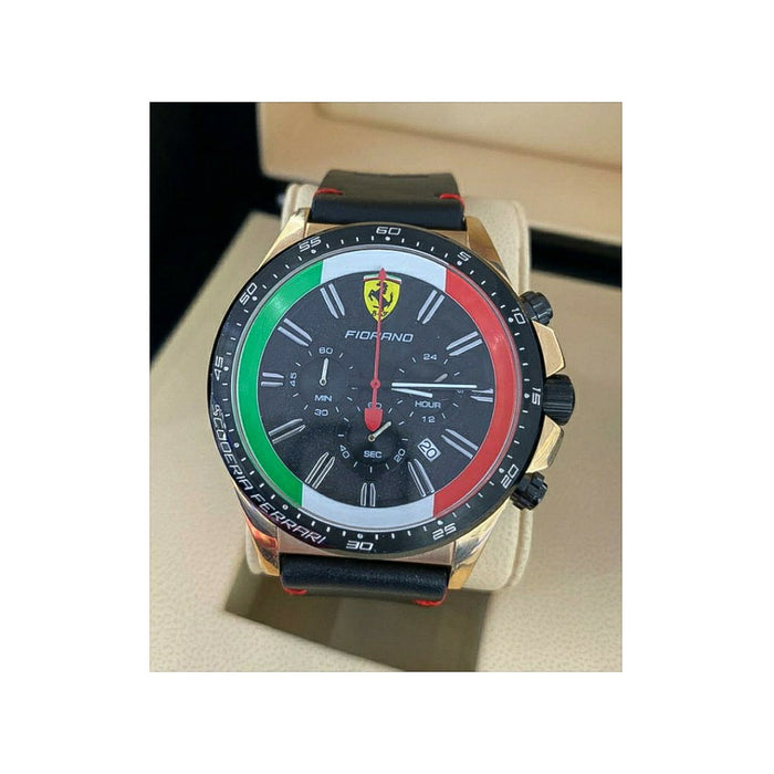 Ferrari FR510 Chronograph - Men's Leather Watch - Bejewel