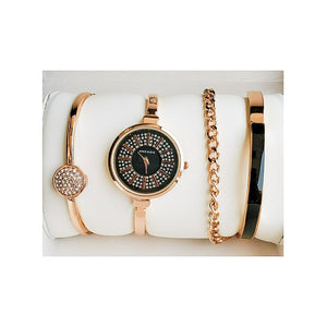 Anne Klein AN317 Women's Chain Watch + Bracelet Set - Bejewel