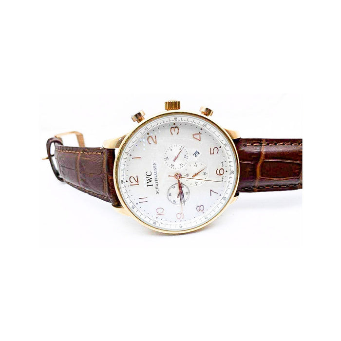 IWC13 Chronograph - Men's Leather Watch - Bejewel