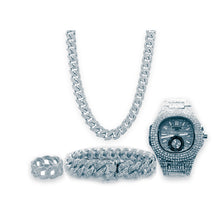 Load image into Gallery viewer, Patek chain watch + necklace + bangle + ring set - Bejewel