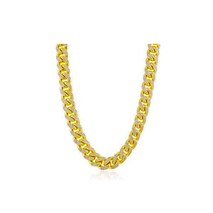 FN246 stone ice Cuban link- men's fashion necklace - Bejewel