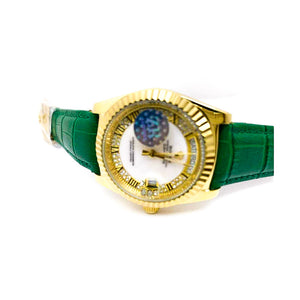 Rolex RL369 Automatic - Women's Leather Watch - Bejewel