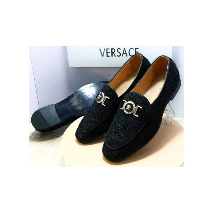 Versace MS539 Men's Suede Loafer Shoe - Bejewel