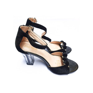 Steve Madden WS769 Transparent Stool Heel Women's Ankle Strap Leather Sandal - Bejewel