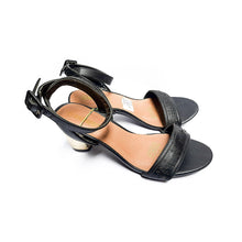 Load image into Gallery viewer, WS182 Cup Heel Women's Ankle Strap Leather Sandal - Bejewel