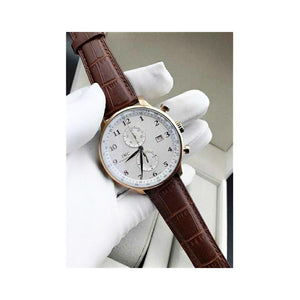 IWC75 Chronograph - Men's Leather Watch - Bejewel