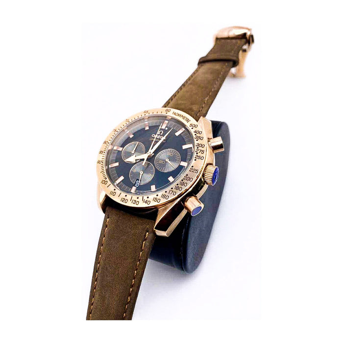 Omega OM496 Chronograph - Unisex Leather Watch - Bejewel