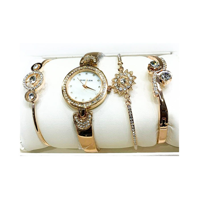 Anne Klein AK891 Women's Chain Watch + Bracelet Set - Bejewel