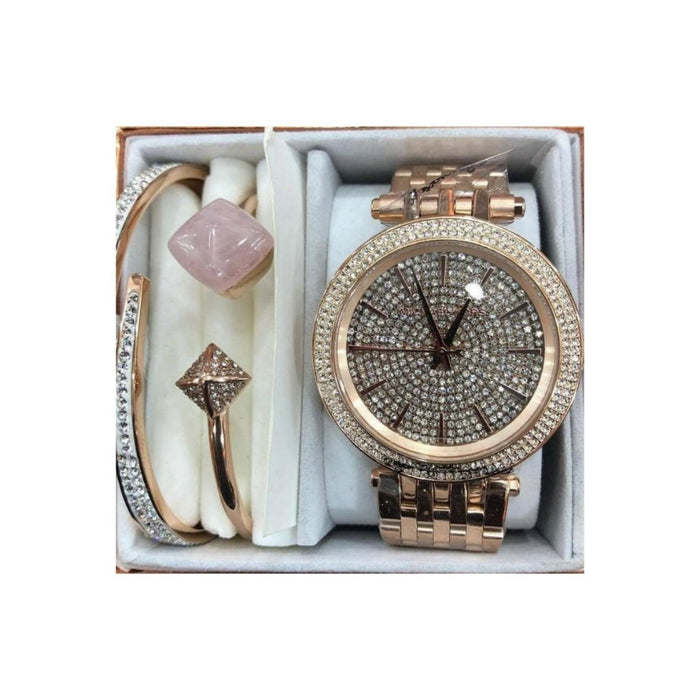 MK315 Stone Bezel - Women's Chain Watch And Bracelet Set - Bejewel