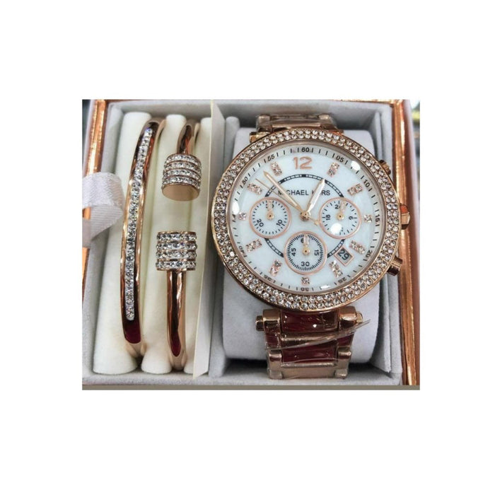 MK471 Automatic Chronograph - Women's Chain Watch And Bracelet Set - Bejewel