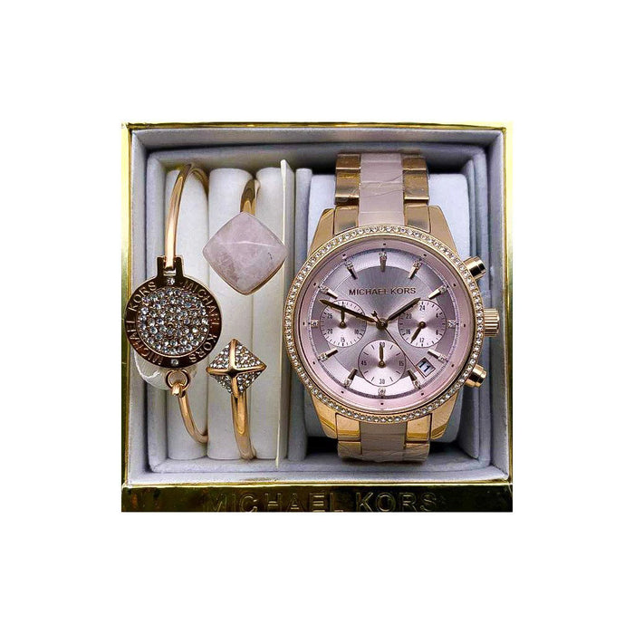 MK331 Automatic Chronograph - Women's Chain Watch And Bracelet Set - Bejewel