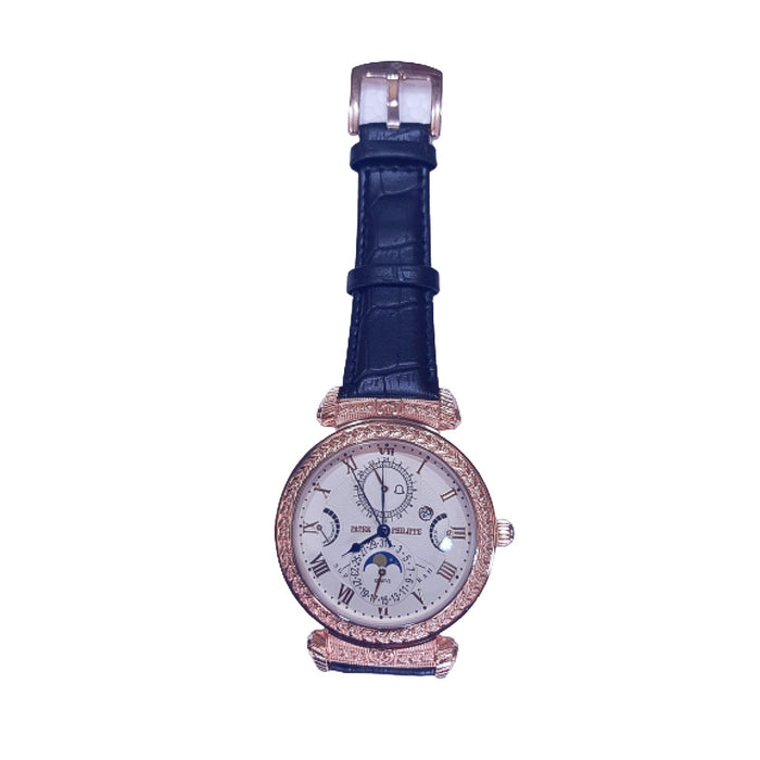 PP174 Men's Leather Watch - Bejewel