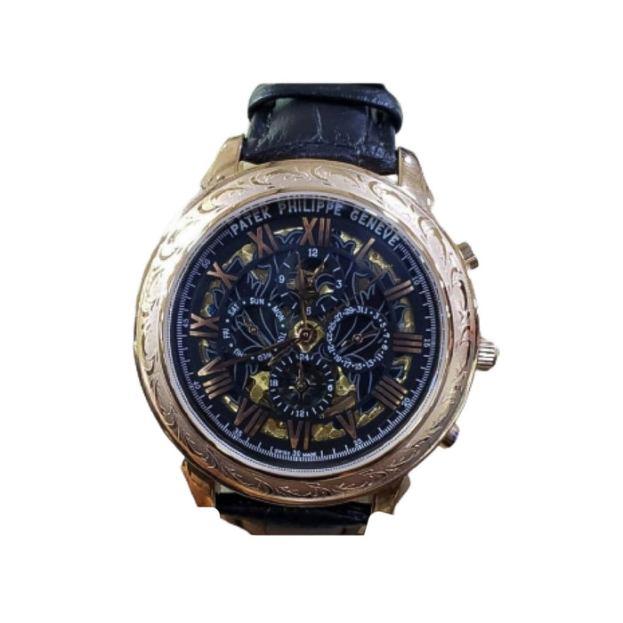 Patek Philippe PP443 chronograph- men's leather strap watch - Bejewel
