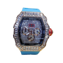 Load image into Gallery viewer, RM218 Stone Bezel Chronograph - Men's Rubber Watch - Bejewel