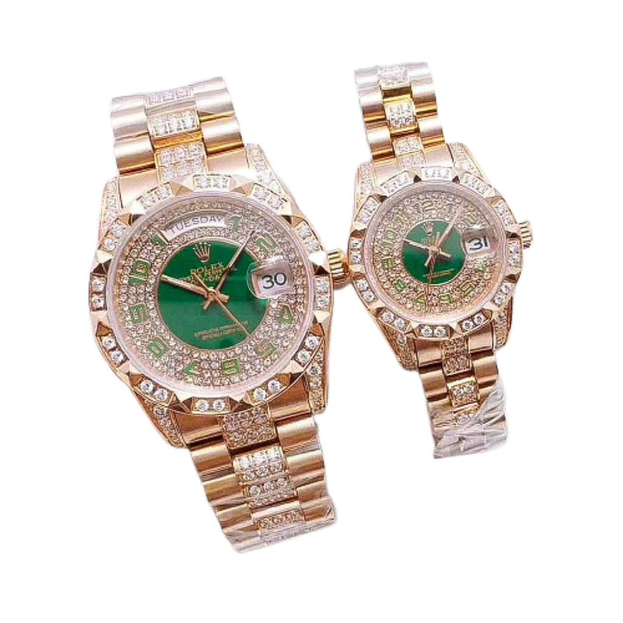 Rolex Oyster RO393 Automatic - Couples Chain Watch - Bejewel