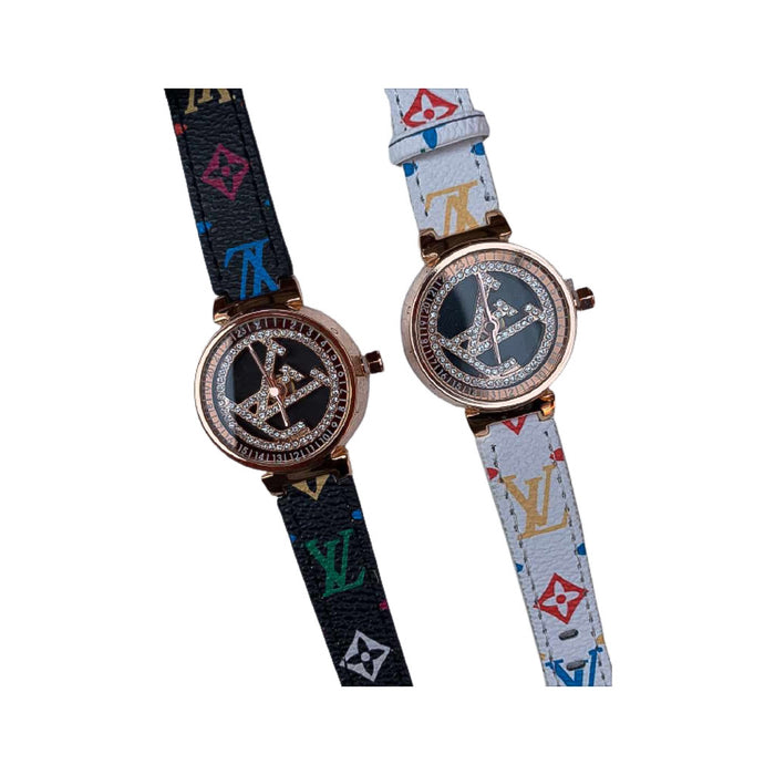 LV451 Women's Leather Watch - Bejewel