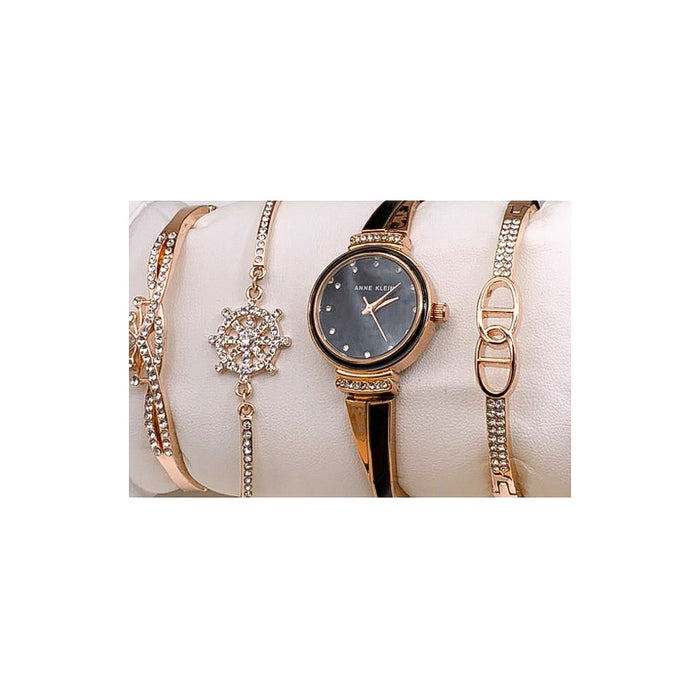 Anne Klein AK948 Women's Chain Watch + Bracelet Set - Bejewel