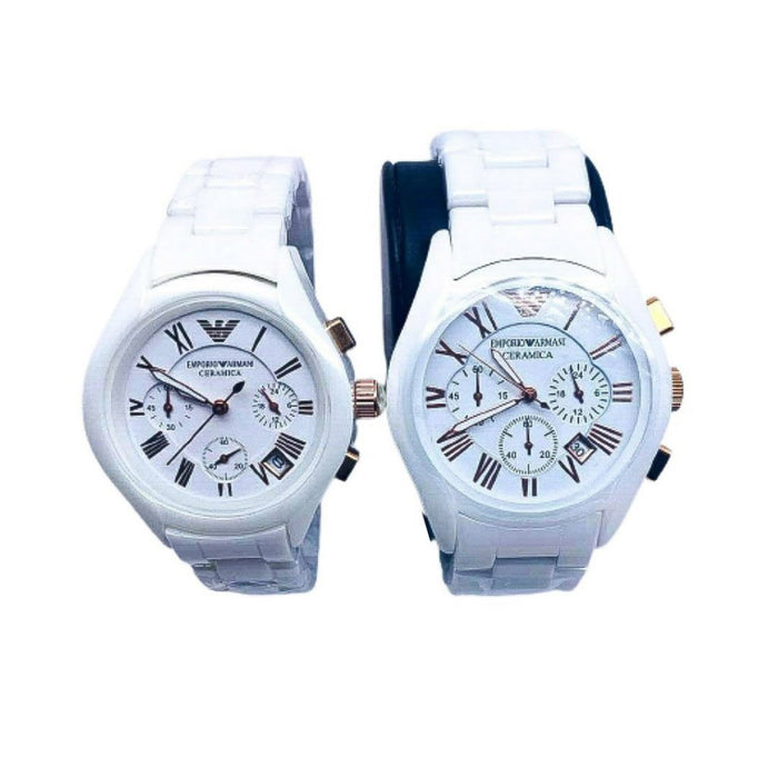 EA525 Chronograph - Couples Chain Watch - Bejewel