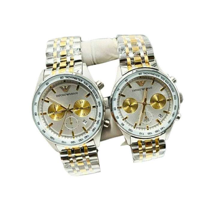 EA582 Automatic Chronograph - Couples Chain Watch - Bejewel