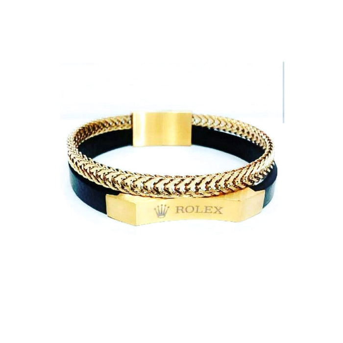 Rolex R378 men's leather-chain bangle - Bejewel