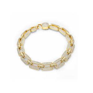 CB276 Stone ice unisex chain bangle - Bejewel