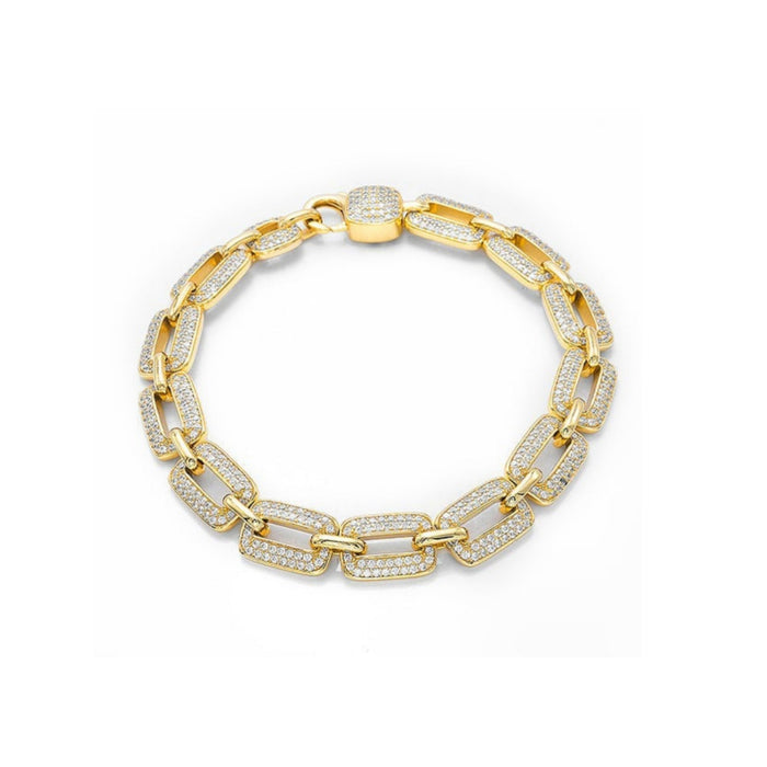 CB276 Stone ice unisex chain bangle