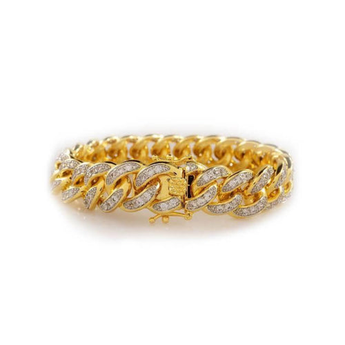 MB349 stone ice Cuban link- men's chain bangle - Bejewel