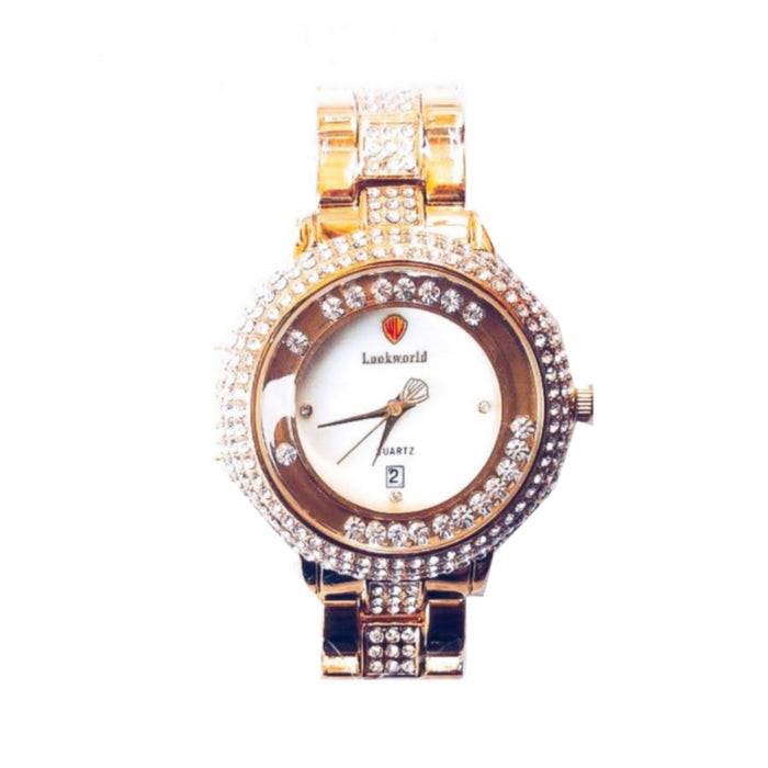 Look World- LW285 Iced Stone - Women's Chain Watch - Bejewel
