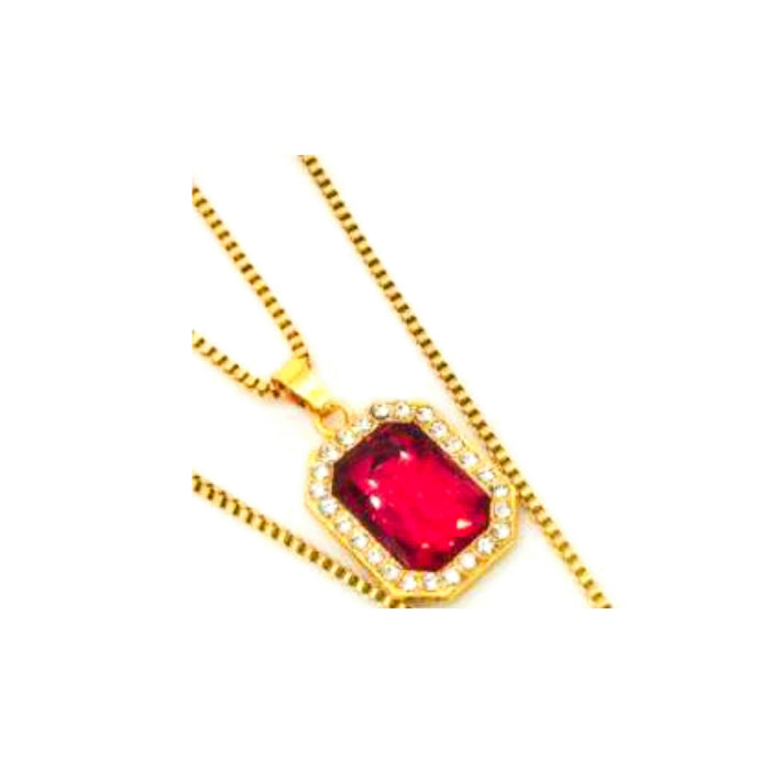 Red Emerald pendant- unisex fashion necklace - Bejewel