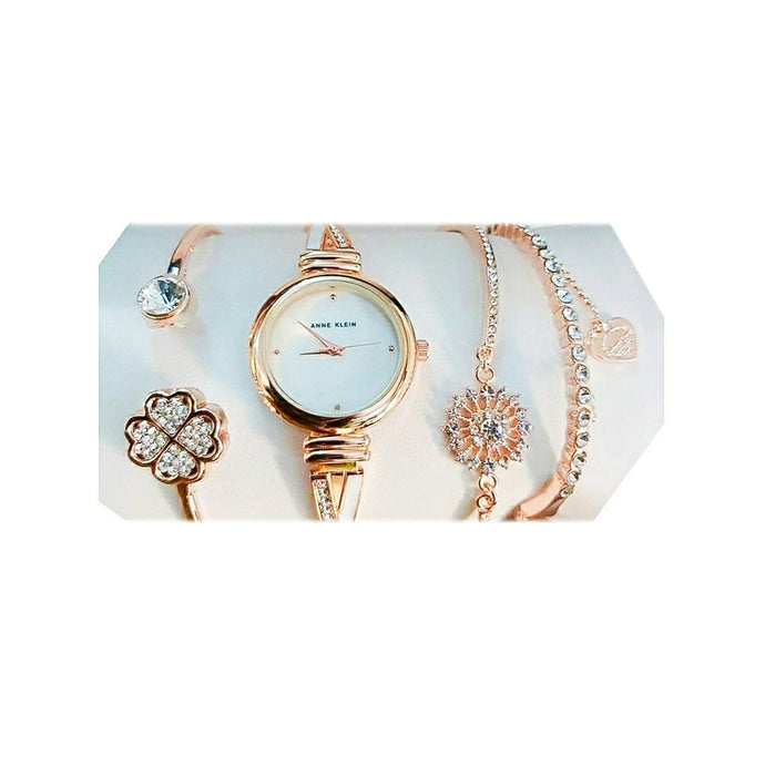 Anne Klein AN947 Women's Chain Watch + Bracelet Set - Bejewel