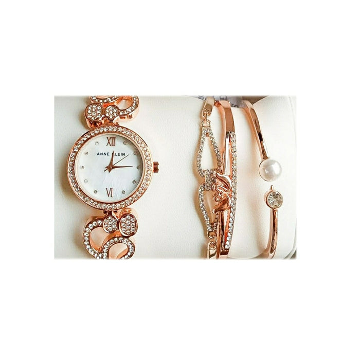Anne Klein AK457 Women's Chain Watch And Bracelet Set - Bejewel