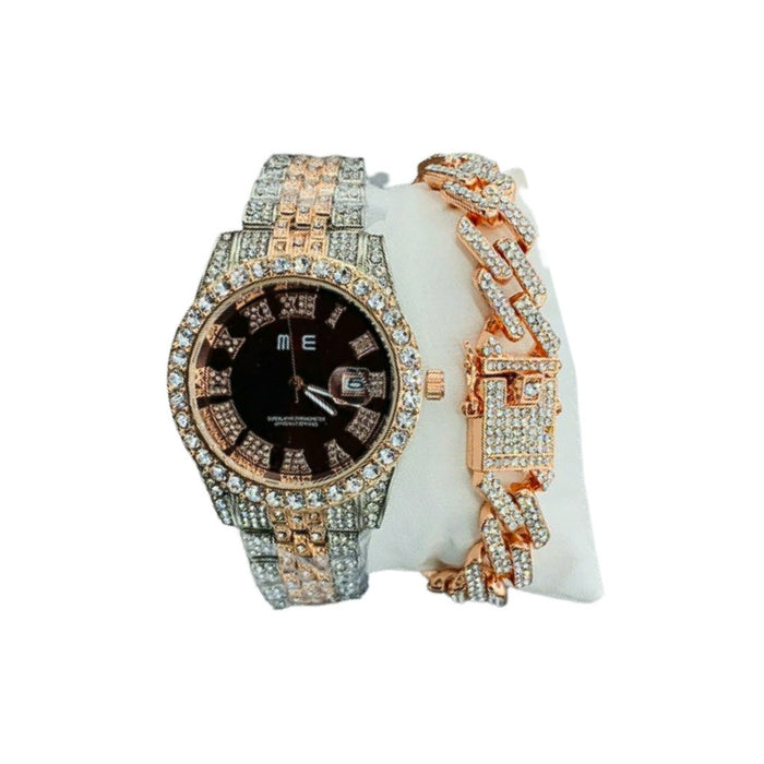 ME232 ice studded Unisex Chain Watch + Bracelet Set - Bejewel