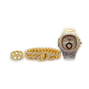 Patek stone - unisex chain watch + bangle + ring set - Bejewel
