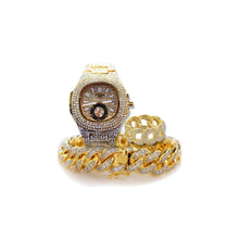 Load image into Gallery viewer, Patek stone - unisex chain watch + bangle + ring set - Bejewel