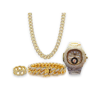 Patek chain watch + necklace + bangle + ring set - Bejewel