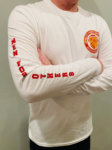 "Long Sleeve White T-Shirt / Crest and ""Men for Others"""