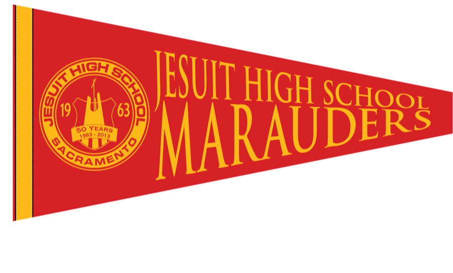 """NEW"" Pennant - Jesuit Seal Red & Gold"