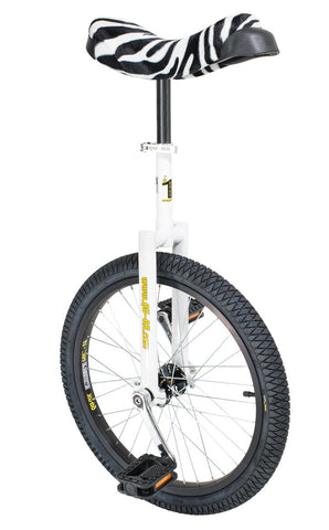 "QU-AX Luxus 20"" Unicycle (white/zebra-pattern saddle)"