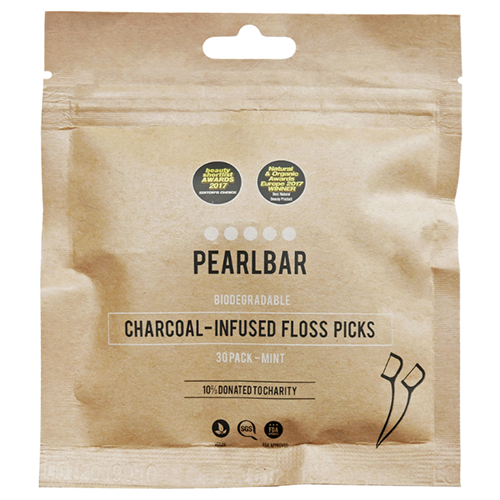 Biodegradable, Charcoal-infused Floss Picks