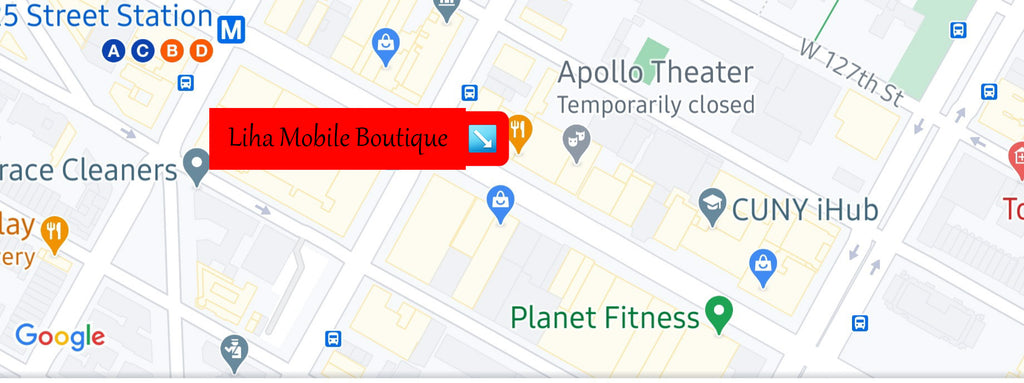Map of the Liha Mobile Boutique on 125th Street in Harlem, NYC