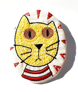Kat, Kat, Hand Embroidered Broach