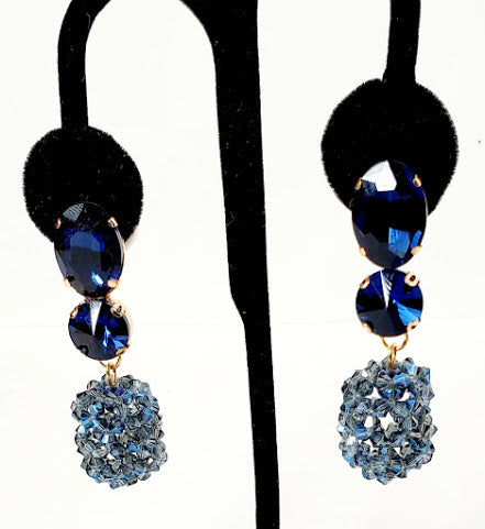 Blue Dangling Post Earrings