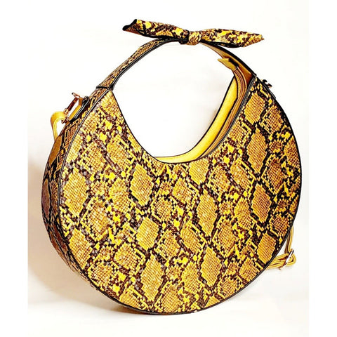 Yellow and black animal print circular handbag