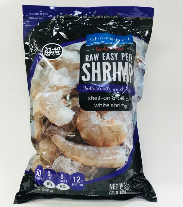Seamazz 去頭帶殼易剝大蝦 - Seamazz Raw Easy Peel Frozen Shrimp 31-40 2 lbs