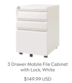 3 Drawer Mobile File Cabinet with Lock