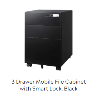 3 Drawer Mobile File Cabinet with Smart Lock
